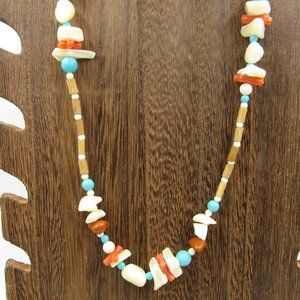 """Jewelry - 25"""" Wood & Shell Necklace Vintage Costume Jewelry"""